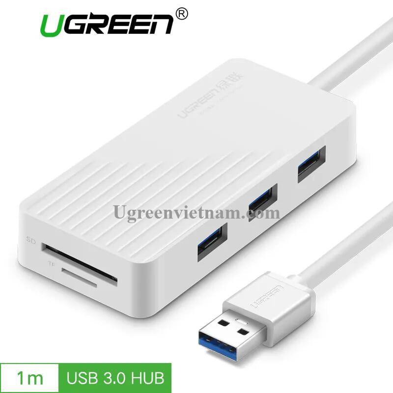 Ugreen 30411 1M màu Trắng Bộ chia HUB USB 3.0 sang 3 USB 3.0 + đọc thẻ SD TF hỗ trợ nguồn MICRO USB CR132