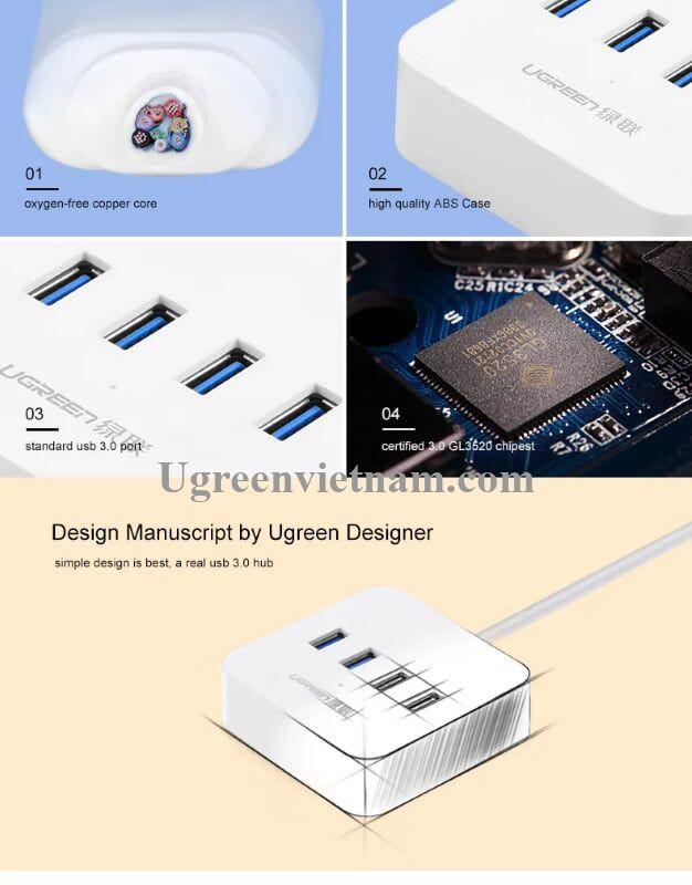 Ugreen 30221 1.5M màu Trắng Bộ chia HUB USB 3.0 sang 4 USB 3.0 có khay đỡ hỗ trợ nguồn 5V cao cấp CR118