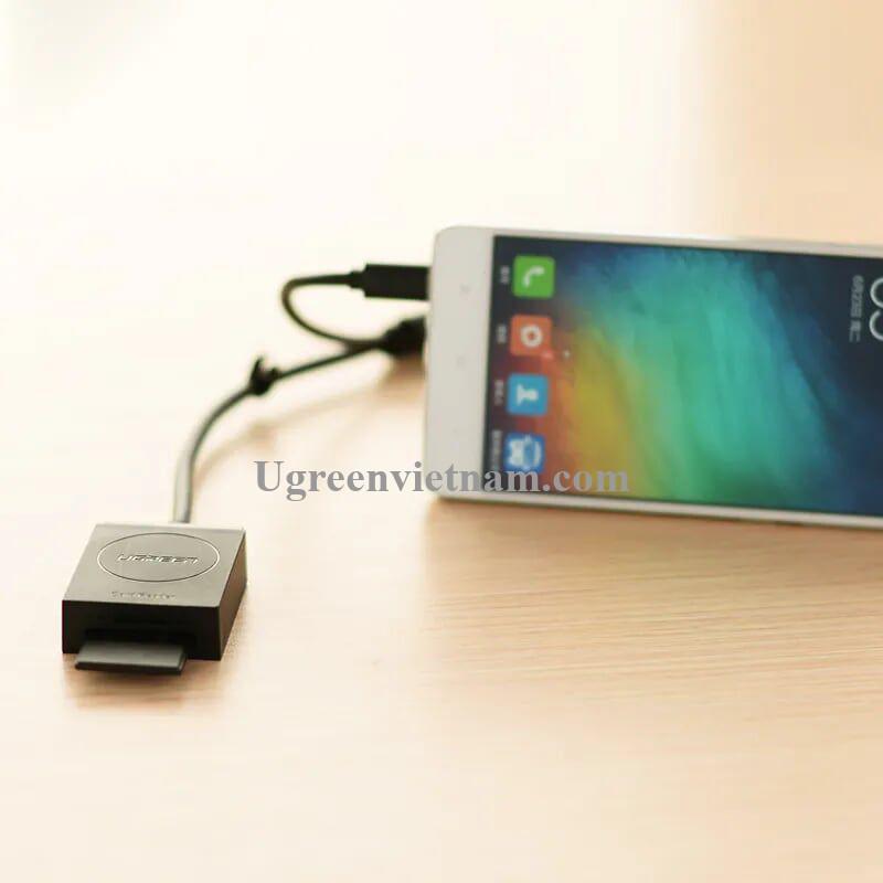 Ugreen 20203 15CM màu Đen Bộ chuyển USB 3.0 sang đọc thẻ TF + SD hỗ trợ OTG cao cấp  CR127