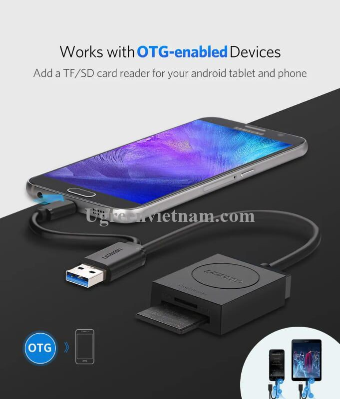 Ugreen 20250 15CM màu Đen Bộ chuyển USB 3.0 sang đọc thẻ TF + SD cao cấp  CR127