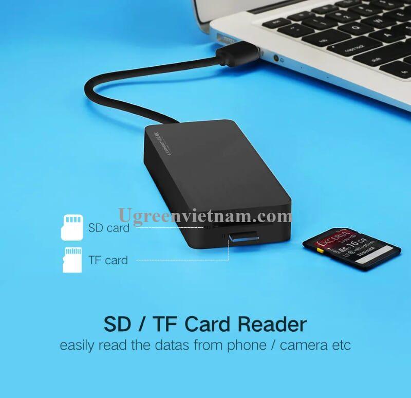 Ugreen 30413 1M màu Đen Bộ chia HUB USB 3.0 sang 3 USB 3.0 + đọc thẻ SD TF hỗ trợ nguồn MICRO USB CR132