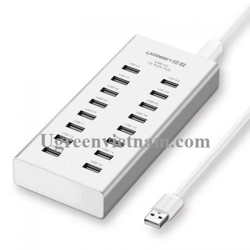 Ugreen 20298 Màu Bạc Bộ chia HUB USB 2.0 sang 16 USB 2.0 hỗ trợ nguồn cao cấp 20298