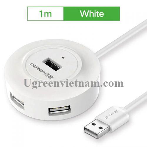 Ugreen 20270 1M màu Trắng Bộ chia HUB USB 2.0 sang 4 USB 2.0 hỗ trợ nguồn 5V CR106