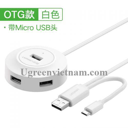 Ugreen 20271 1M màu Trắng Bộ chia HUB USB 2.0 sang 4 USB 2.0 hỗ trợ OTG CR106