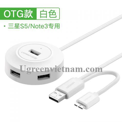 Ugreen 20276 1M màu Trắng Bộ chia HUB USB 2.0 sang 4 USB 2.0 hỗ trợ OTG 3.0 CR106