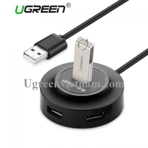 Ugreen 20277 1M màu Đen Bộ chia HUB USB 2.0 sang 4 USB 2.0 hỗ trợ nguồn 5V CR106