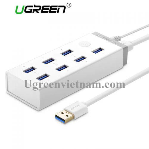 Ugreen 20296 Màu Trắng Bộ chia HUB USB 3.0 sang 7 USB 3.0 hỗ trợ nguồn 12V CR116