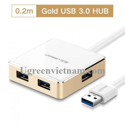 Ugreen 20783 20CM màu Vàng Bộ chia HUB USB 3.0 sang 4 USB 3.0 vỏ hợp kim nhôm hỗ trợ nguồn 5V US168