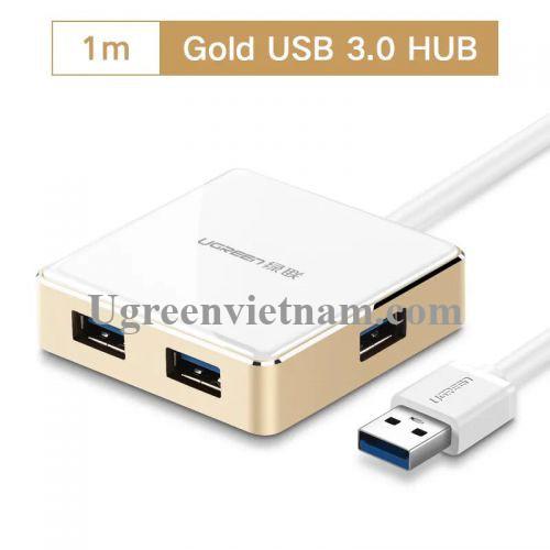 Ugreen 20784 1M màu Vàng Bộ chia HUB USB 3.0 sang 4 USB 3.0 vỏ hợp kim nhôm hỗ trợ nguồn 5V US168