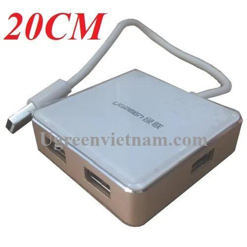 Ugreen 20796 20CM màu Vàng Bộ chia HUB USB 2.0 sang 4 USB 2.0 vỏ hợp kim nhôm hỗ trợ nguồn 5V US170
