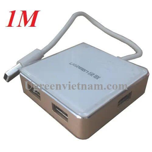 Ugreen 20797 1M màu Vàng Bộ chia HUB USB 2.0 sang 4 USB 2.0 vỏ hợp kim nhôm hỗ trợ nguồn 5V US170