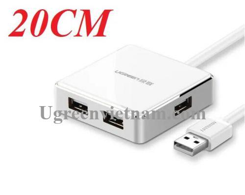Ugreen 20803 20CM màu Trắng Bộ chia HUB USB 2.0 sang 4 USB 2.0 vỏ hợp kim nhôm hỗ trợ nguồn 5V US170