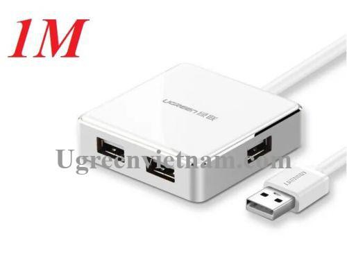 Ugreen 20804 1M màu Trắng Bộ chia HUB USB 2.0 sang 4 USB 2.0 vỏ hợp kim nhôm hỗ trợ nguồn 5V US170