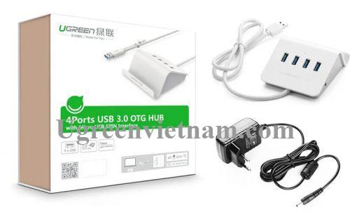 Ugreen 20279 Màu Trắng Bộ chia HUB USB 3.0 sang 4 USB 3.0 có khay đỡ hỗ trợ nguồn 5V CR109