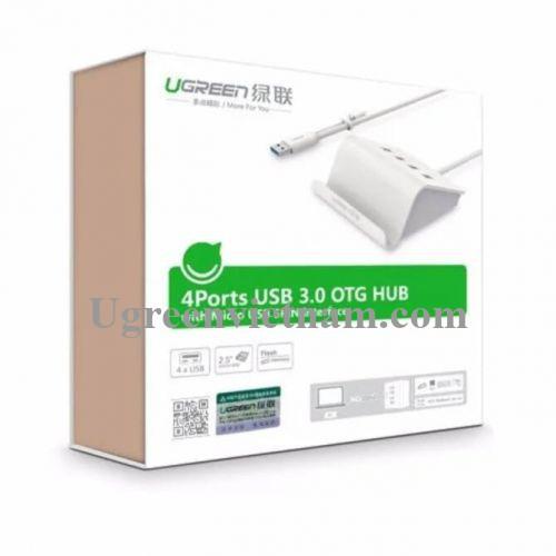 Ugreen 20280 Màu Trắng Bộ chia HUB USB 3.0 sang 4 USB 3.0 có khay đỡ hỗ trợ OTG CR109
