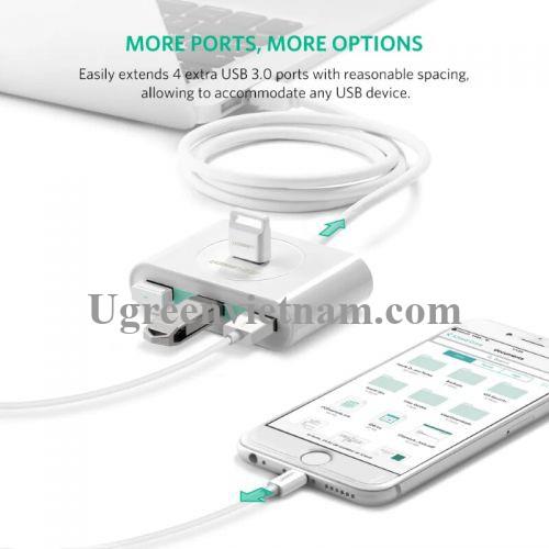Ugreen 20282 50CM màu Trắng Bộ chia HUB USB 3.0 sang 4 USB 3.0 hỗ trợ nguồn 5V CR113