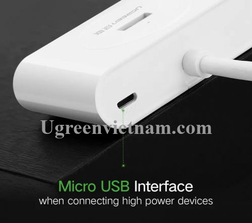Ugreen 20283 80CM màu Trắng Bộ chia HUB USB 3.0 sang 4 USB 3.0 hỗ trợ nguồn 5V CR113