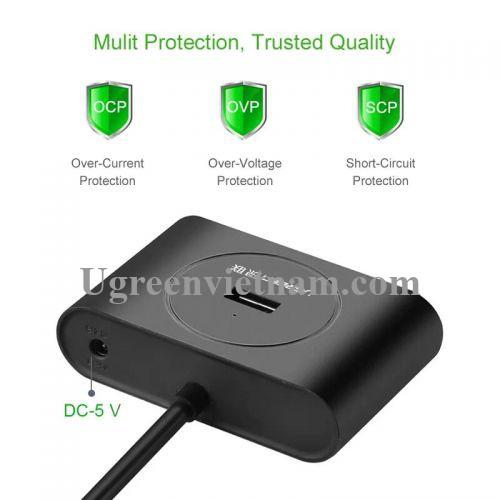 Ugreen 20291 100CM màu Đen Bộ chia HUB USB 3.0 sang 4 USB 3.0 hỗ trợ nguồn 5V CR113