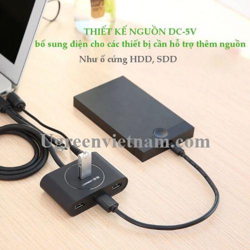 Ugreen 20292 80CM màu Đen Bộ chia HUB USB 3.0 sang 4 USB 3.0 hỗ trợ OTG CR113