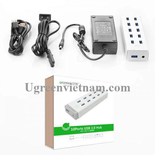 Ugreen 20297 Màu Trắng Bộ chia HUB USB 3.0 sang 10 USB 3.0 hỗ trợ nguồn 12V CR117