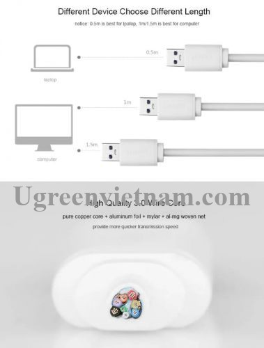 Ugreen 30202 1M màu Trắng Bộ chia HUB USB 3.0 sang 4 USB 3.0 có khay đỡ hỗ trợ nguồn 5V cao cấp CR118