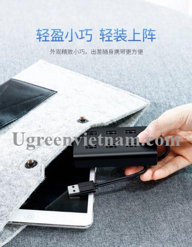 Ugreen 30374 1M màu Đen Bộ chia HUB USB 2.0 sang 7 USB 2.0 hỗ trợ nguồn MICRO USB CR130