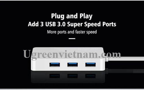 Ugreen 30418 30CM màu Trắng Bộ chia HUB USB 3.0 sang 3 USB 3.0 + cổng âm thanh 3.5mm hỗ trợ nguồn MICRO USB CR133