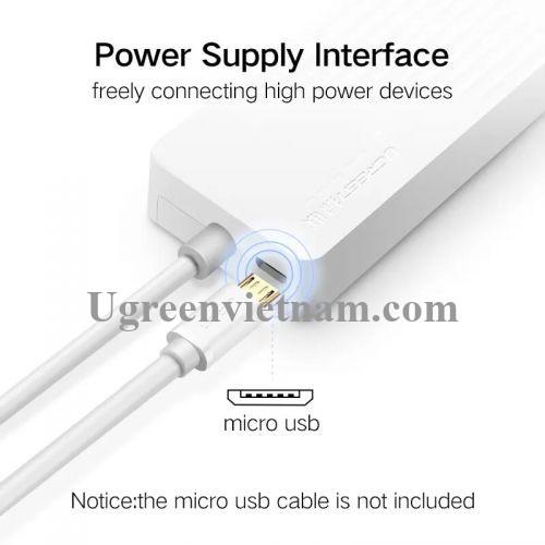Ugreen 30419 1M màu Trắng Bộ chia HUB USB 3.0 sang 3 USB 3.0 + cổng âm thanh 3.5mm hỗ trợ nguồn MICRO USB CR133