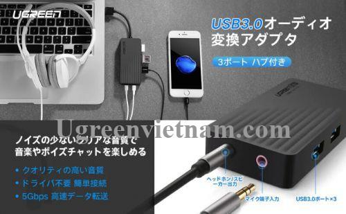 Ugreen 30420 30CM màu Đen Bộ chia HUB USB 3.0 sang 3 USB 3.0 + cổng âm thanh 3.5mm hỗ trợ nguồn MICRO USB CR133