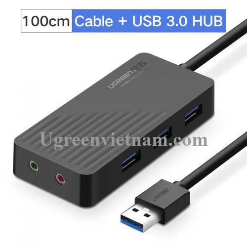 Ugreen 30421 1M màu Đen Bộ chia HUB USB 3.0 sang 3 USB 3.0 + cổng âm thanh 3.5mm hỗ trợ nguồn MICRO USB CR133