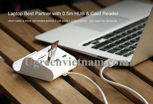 Ugreen 30342 50CM màu Trắng Bộ chia HUB USB 3.0 sang 3 USB 3.0 + đọc thẻ TF SD MS M2 có khay đỡ hỗ trợ nguồn 5V US156