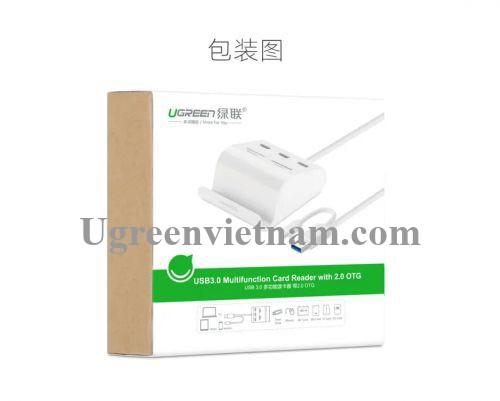 Ugreen 30343 50CM màu Trắng Bộ chia HUB USB 3.0 sang 3 USB 3.0 + đọc thẻ TF SD MS M2 có khay đỡ hỗ trợ OTG US156