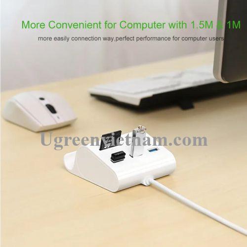 Ugreen 30344 1M màu Trắng Bộ chia HUB USB 3.0 sang 3 USB 3.0 + đọc thẻ TF SD MS M2 có khay đỡ hỗ trợ nguồn 5V US156