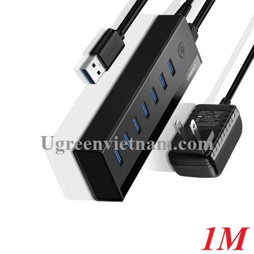 Ugreen 40521 1M 7 cổng Usb 3.0 Hub có kèm nguồn 5V màu đen US219 20040521