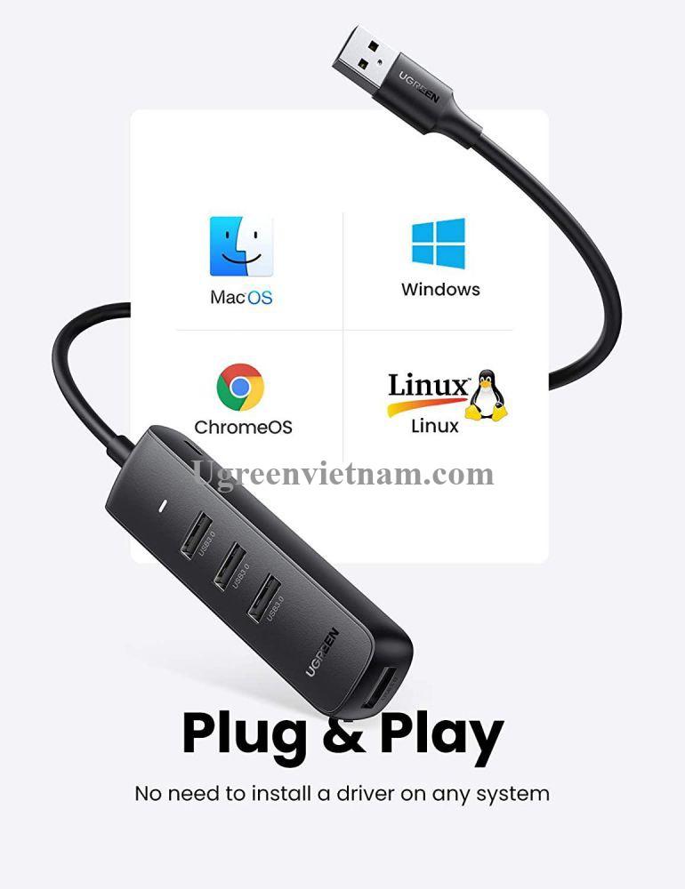 Ugreen 80656 0.5M Black Usb 3.0 4 Ports Hub CM416 20080656