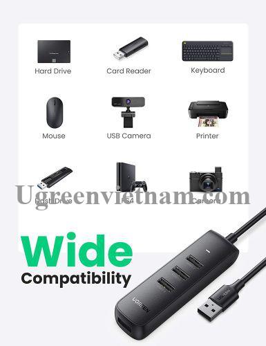Ugreen 80657 1M Black Usb 3.0 4 Ports Hub CM416 20080657