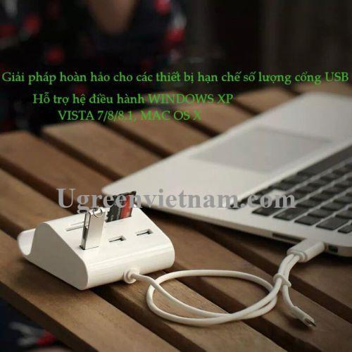 Ugreen 30339 50CM màu Trắng Bộ chia HUB USB 2.0 sang 3 USB 2.0 + đọc thẻ TF SD MS M2 có khay đỡ 30339