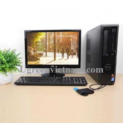Ugreen 20238 1M Màu Đen Bộ chia 3 cổng USB 2.0 kèm đầu đọc thẻ SD/M2/SD/TF CR101