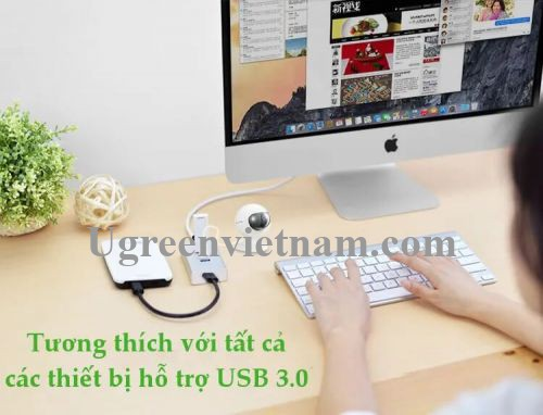 Ugreen 30234 50CM Màu Trắng Bộ chia Hub USB 3.0 ra 4 cổng usb 3.0 cao cấp CR126