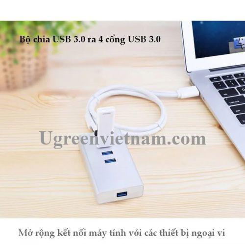 Ugreen 30236 1.5M Màu Trắng Bộ chia Hub USB 3.0 ra 4 cổng usb 3.0 cao cấp CR126