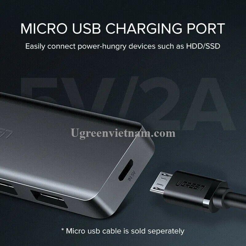 Ugreen 50985 15CM Màu đen Bộ chia USB 3.0 ra 4 cổng hỗ trợ nguồn phụ Micro USB CR219