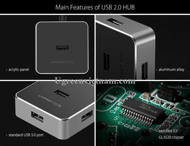 Ugreen 30426 50CM Màu Trắng Bộ chia Hub usb 2.0 ra 4 cổng usb 2.0 cao cấp CR135
