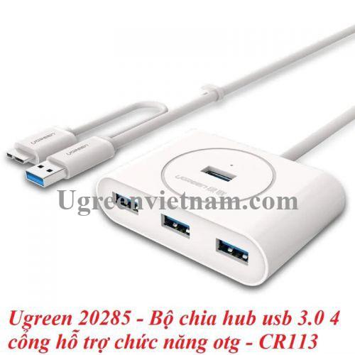 Ugreen 20285 50CM Màu Trắng Bộ chia Hub usb 3.0 ra 4 cổng usb 3.0 hỗ trợ chức năng OTG CR113