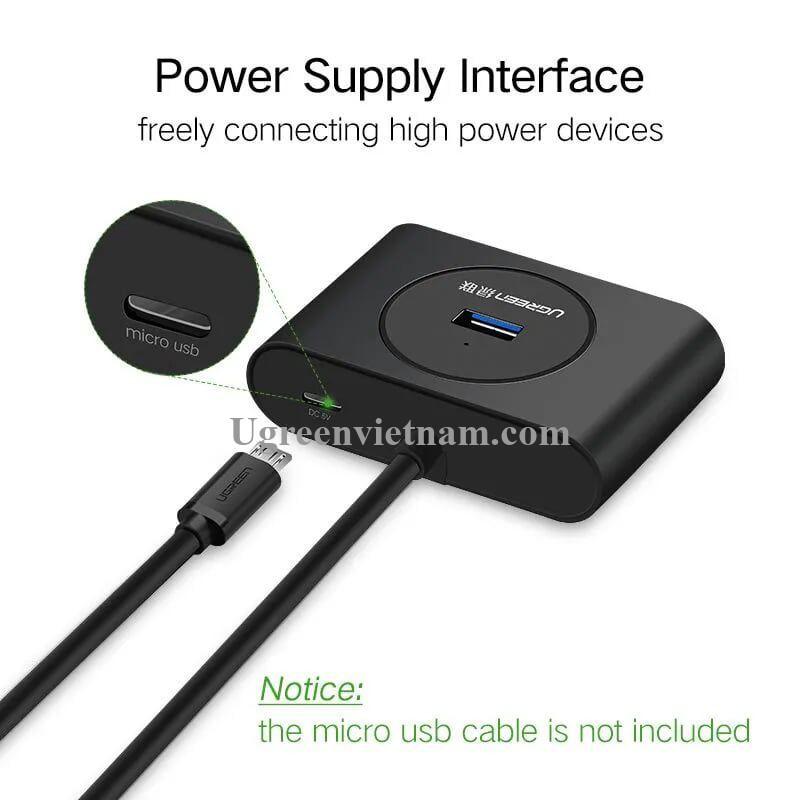 Ugreen 50263 25CM Màu Đen USB 3.0 Hub 4 Port With Power Port CR113