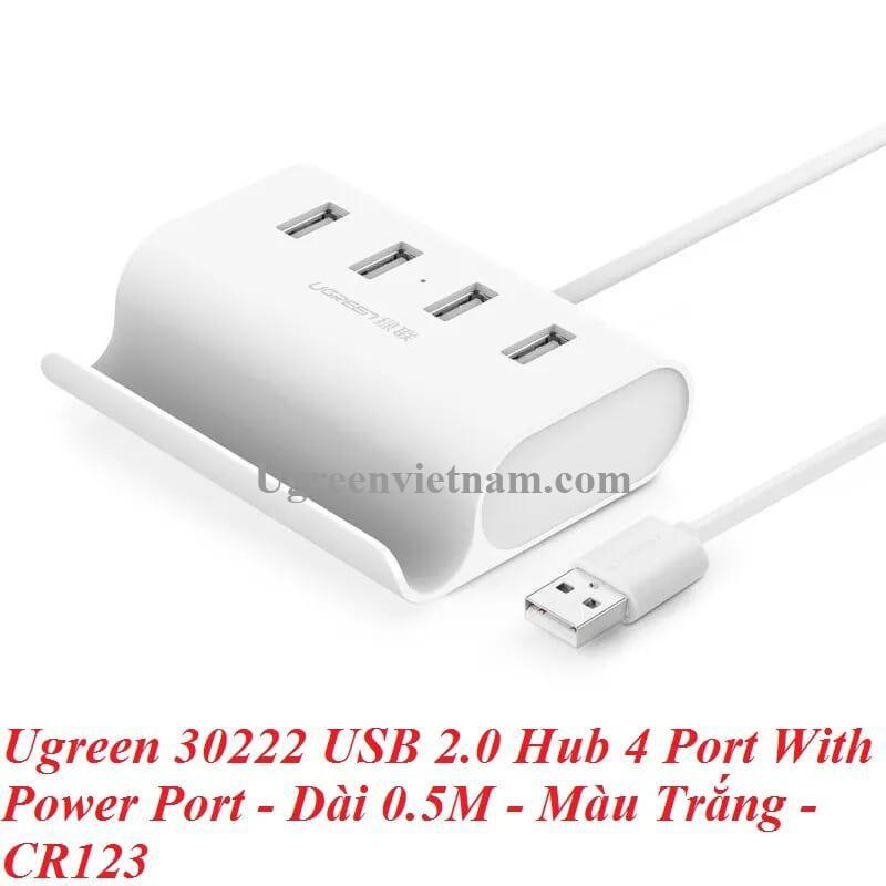 Ugreen 30222 0.5M Màu Trắng USB 2.0 Hub 4 Port With Power Port CR123