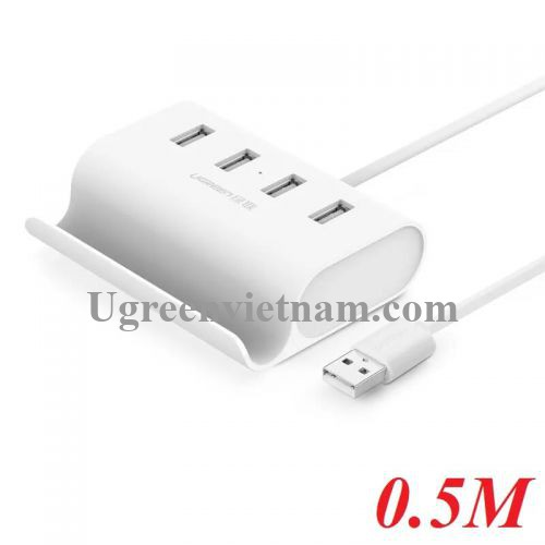 Ugreen 30222 0.5M Màu Trắng USB 2.0 Hub 4 Port With Power Port CR123