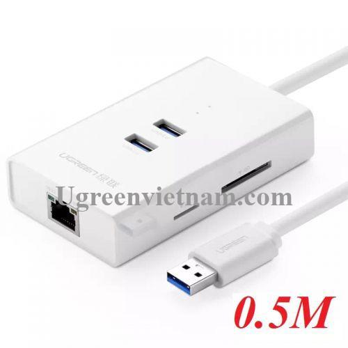 Ugreen 20248 0.5M màu Trắng HUB chuyển đổi USB 3.0 sang 2 USB 3.0 + LAN + SD TF cao cấp 20248 20020248