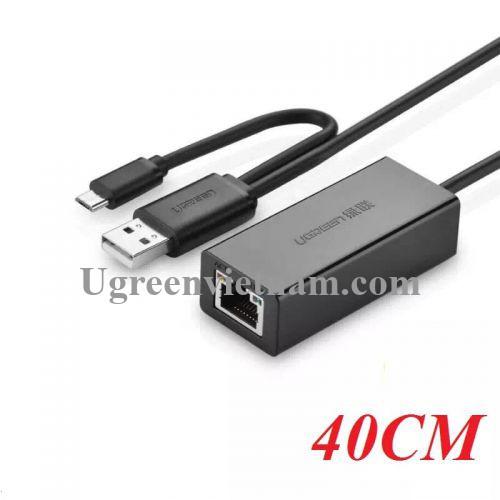Ugreen 30219 10CM màu Đen Cáp chuyển đổi USB 2.0 sang cổng LAN RJ45 hỗ trợ OTG CR110 20030219
