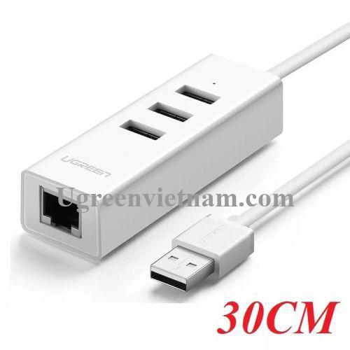 Ugreen 30297 30CM màu Trắng HUB chuyển đổi USB 2.0 sang 3 USB 2.0 + LAN tốc độ 100Mbps CR129 20030297