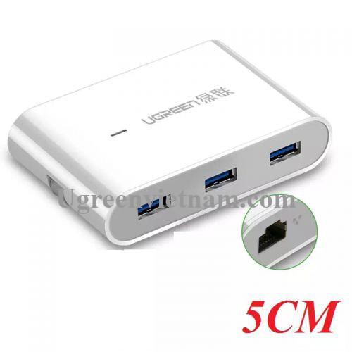 Ugreen 30280 5CM màu Trắng HUB chuyển đổi USB 3.0 sang 3 USB 3.0 + LAN hỗ trợ nguồn MICRO USB tốc độ 100 Mbps US149 20030280